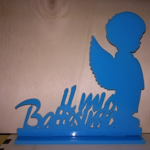 cake topper per battesimo in plexi blu on angioletto