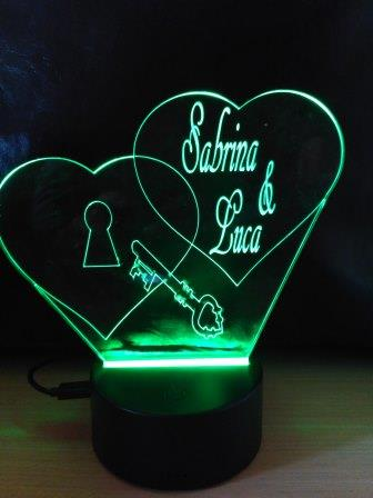 regalo lampada a led luce verde cuore e chiave personalizzata