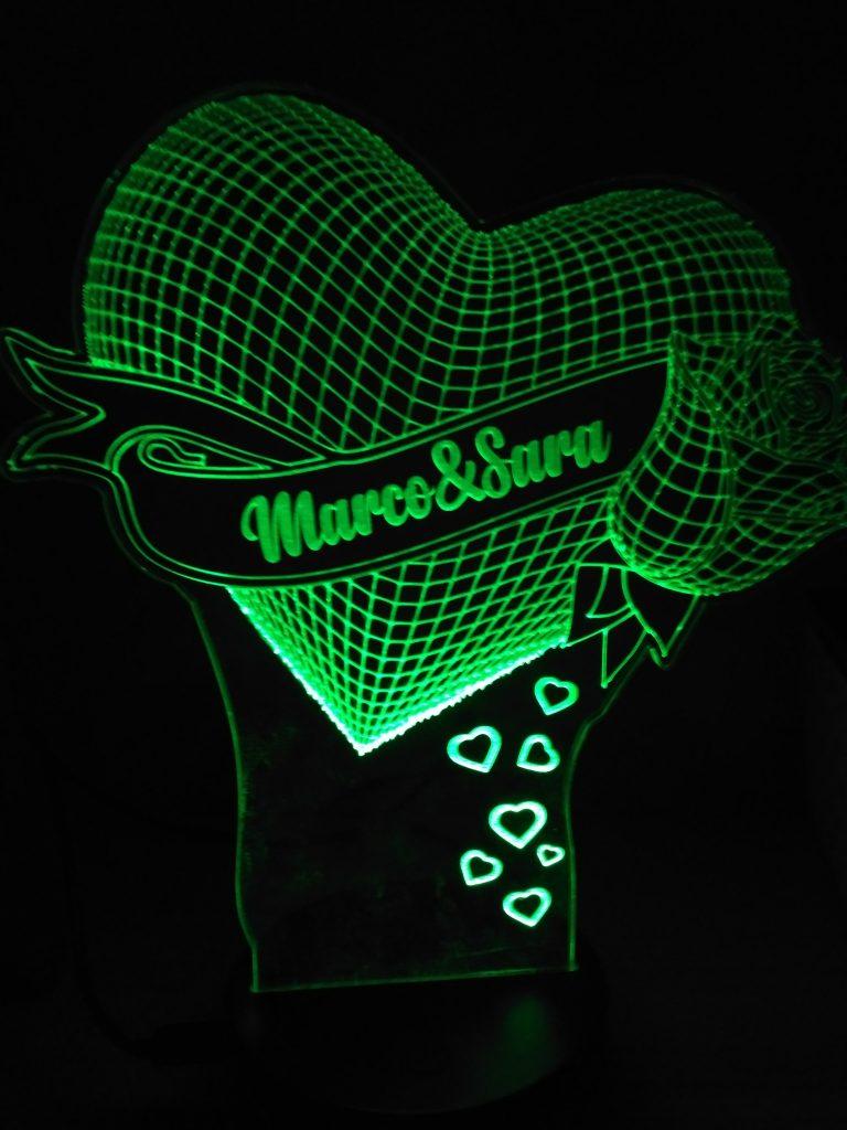 lampada a led 3D cuore personalizzato