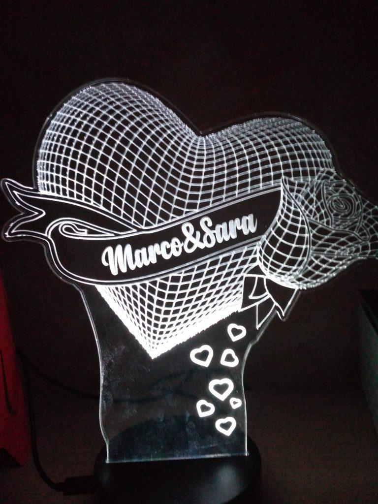 lampada a led 3D cuore personalizzato con nomi