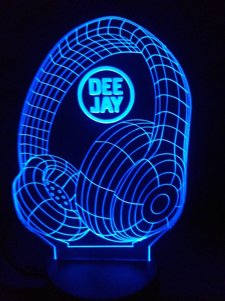 lampade a led cuffie dj con logo blu