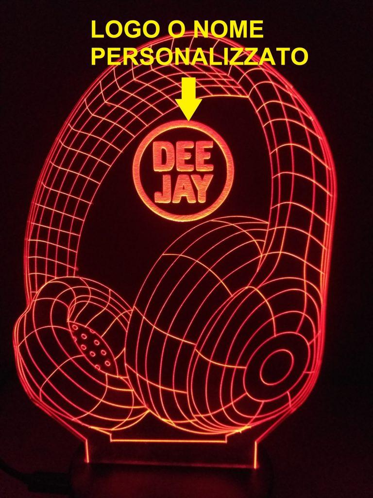 lampade a led cuffie dj con logo