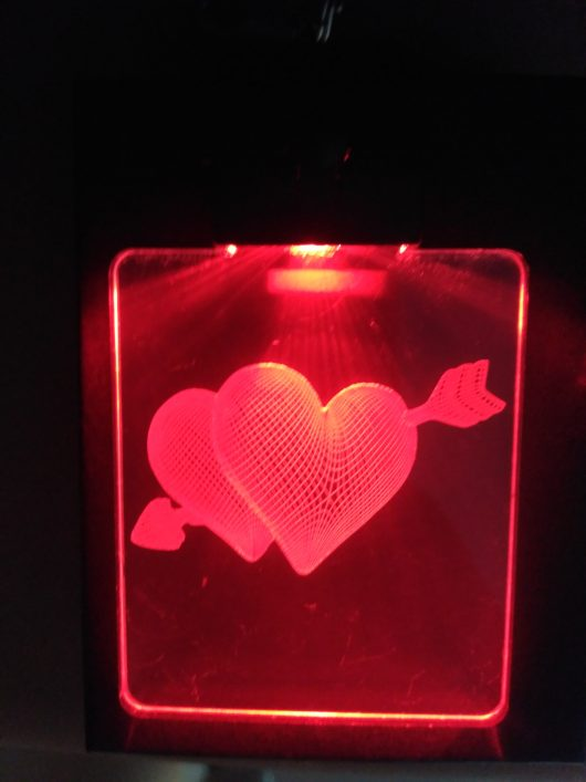 portachiavi cuori in 3D rosso