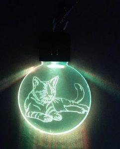 portachiavi immagine del gatto illuminato a led